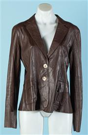 Sale 9090F - Lot 103 - AN ITALIAN MADE LEATHER JACKET ; in choclate with two buttons to front and a large collar, size 40/12