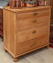 Sale 9060H - Lot 34 - A Baltic pine chest of four drawers with brass handles and bobbin feet to front. Height 94 x 90x 48cm