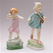 Sale 9070 - Lot 28 - Royal Worcester Figures Wednesdays child knows little Woe and Thursday child has far to go