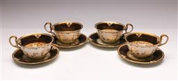 Sale 9136 - Lot 234 - A set of 4 Aynsley teacups & saucers (repair to one saucer, minor wear apparent)