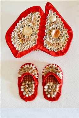 Sale 9153A - Lot 5007 - LOLA RYAN (1925 - 2003) - Untitled (Australian Shellbox with Shellwork Slippers) 30.0 x 21.0 x 10.0 cm (overall)