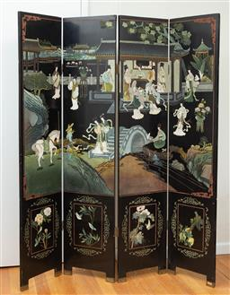 Sale 9190H - Lot 268 - A oriental four panel floor screen Height 180cm Width of each panel 41cm, crack to one panel