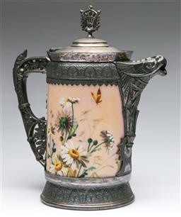Sale 9175 - Lot 248 - A Large Silverplated and Ceramic Teapot Featuring Butterflies and Flowers (H:34cm)