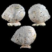 Sale 8000 - Lot 364 - Three carved Mother of Pearl shells, two with dragons, the third with an eagle, inset with pearls.