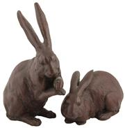 Sale 8040 - Lot 40 - Japanese Bronze Pair of Hares