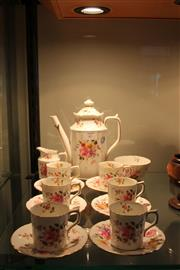 Sale 8081 - Lot 57 - Royal Crown Derby Floral Coffee Set for Six Persons
