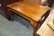 Sale 8175 - Lot 1082 - Carved Timber Coffee Table on Cabriole Legs