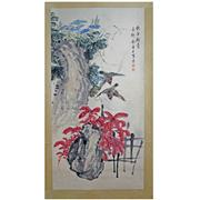 Sale 8221 - Lot 94 - Jin Mengshi Signed Birds & Flowers Hand Painted Watercolour Scroll