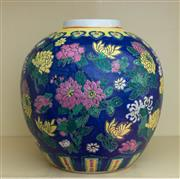 Sale 8270 - Lot 74 - A large jar shaped vase enamel decorated with chrysanthemums and peonies, H 15cm