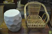 Sale 8326 - Lot 1255 - Kids Cane Tub Chair & Modern Drum Stool
