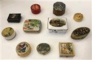 Sale 8436A - Lot 43 - A group of eleven assorted pill boxes including gold tone, Hammersley, Russian lacquer, decorated with figural scenes.