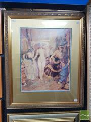 Sale 8548 - Lot 2008 - Norman Lindsay The Curtain, decorative print, 78x 66cm (frame size), Bloomfield Galleries label verso