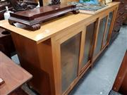Sale 8697 - Lot 1600 - Large Modern Pine Sideboard with Glass Doors