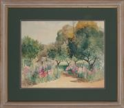 Sale 8895 - Lot 2050 - Ann Hedley Parsons (1870 - 1960) - Cottage Among Hollyhocks 42 x 52 cm