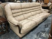 Sale 8951 - Lot 1085 - Leather Upholstered Three Piece Timber Framed Lounge Suite (BH: 98 D: 92cm)