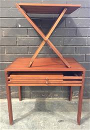 Sale 8967 - Lot 1012 - Silkeborg Danish Teak Elevated Cabinet with Three Collapsible Side Tables (H:50 x W:59 x D:40cm)