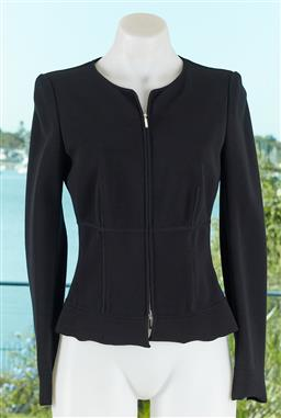 Sale 9120K - Lot 10 - A Giorgio Armani black viscose jacket; with zip up front, and shoulder pads to interior, size 40