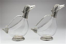 Sale 9123J - Lot 268 - A charming pair of silverplate and crystal duck form decanters for red and white wine.