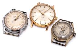 Sale 9156J - Lot 375 - THREE VINTAGE WRISTWATCHES; an Omega Seamaster 600, ref: 135.001 in gold plated stainless steel, sunburst dial, applied markers, cen...
