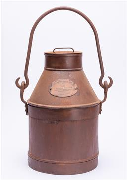 Sale 9185E - Lot 28 - A vintage rustic Cowan Fresh dairies milk churn, Height 38cm, plaque to front marked 2 Imperial Gallons Deposit 1 Shillings S.No. 00...