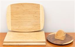 Sale 9239H - Lot 89 - A timber plate, together with three chopping boards, and a set of coasters.