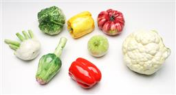 Sale 9253 - Lot 84 - A collection of eight ceramic vegetables - chips and damage (W:14cm - cauliflower)