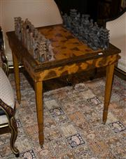 Sale 7984 - Lot 42 - A mother of pearl inlaid games table with stone chess set.
