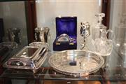 Sale 8116 - Lot 99 - Cut Crystal Jug with Other Crystal & Silver Plated Wares including Goblets, Trays, Dish & Tankard
