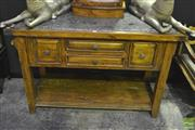 Sale 8227 - Lot 1012 - Marble Inlaid Top Kitchen Island with 2 Drawers & Tiered Shelf Below