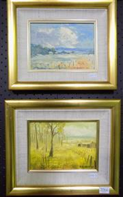 Sale 8569 - Lot 2052 - R. Dargan (2 works) Landscape Scenes, oils on board, 14 x 19cm and signed lower right, each