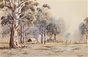 Sale 8583A - Lot 5014 - Victor Robert Watt (1886 - 1970) - Early Morning at the Campsite 17 x 26cm