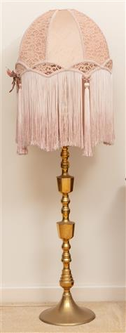 Sale 8926K - Lot 29 - An Italian brass turned standard lamp with long tassled shade, total height 154cm
