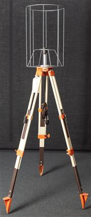 Sale 8984H - Lot 18 - A wombat hollow standard lamp repurposed from an orange and white surveyors tripod and metal shade frame. Height approx 184cm