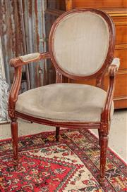 Sale 9060H - Lot 36 - A pair of French bergères with grey velvet upholstery and reeded legs, Height of back 96cm