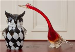Sale 9098H - Lot 94 - A black and white glass owl together with an aventurine included red necked goose, Height 23cm