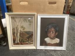 Sale 9101 - Lot 2071 - Albert Namatjira Decorative Print together with a Painting of an Aboriginal Boy crying