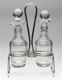 Sale 9123J - Lot 269 - A good vintage French Christofle silverplate cruet stand fitted with 2 hand cut lead crystal oil and vinegar decanters, the stand wi...