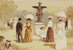 Sale 9141A - Lot 5086 - GERRARD LANTS (1927 - 1998) Afternoon Stroll in the Park watercolour 32 x 48 cm (frame: 49 x 64 x 3 cm) signed lower left