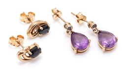 Sale 9168J - Lot 301 - TWO PAIRS OF 9CT GOLD GEMSET STUD EARRINGS; pair with oval cut dark blue sapphires, size 9.5 x 6.5mm, other with pear cut amethysts...