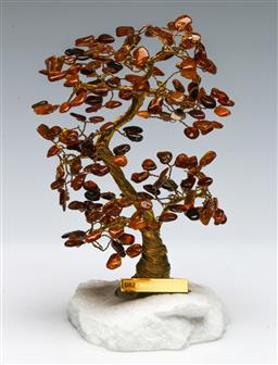 Sale 9164 - Lot 321 - Amber & Copper Tree on an Agate Base, (H:16.5cm)