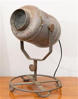 Sale 9239H - Lot 9 - A industrial style spotlight on swivel base, untested, H 45cm.