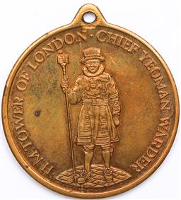Sale 9246 - Lot 82 - A British brass medallion, H.M. Tower of London