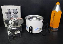 Sale 9254 - Lot 2206 - Peacock Electric Rice Cooker with a Veuve Cliquot Pencil Form Canister, a Box of Christmas Crackers & Decorations