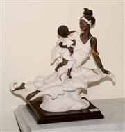 Sale 8107B - Lot 25 - A Florence Resin figure of an African Mother and Child after Guiseppe Onyoryi