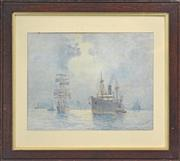 Sale 8174A - Lot 598 - Frederick James (Fred) Elliott (1864 - 1949) - Tall Ships & Steamers In the Harbour 27 x 34cm