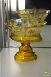 Sale 8256 - Lot 28 - Amber Glass Etched Centrepiece