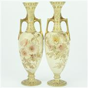 Sale 8342B - Lot 6 - Doulton Burslem Pair of Two Handled Vases