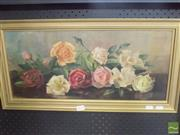 Sale 8513 - Lot 2014 - Artist Unknown - Still Life - Roses, 24.5 x 55cm, initialled lower right