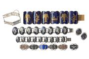 Sale 8641 - Lot 321 - A GROUP OF SIAM SILVER JEWELLERY; 4 bracelets (one damaged), a pair earrings with screw fittings and plaque link blue enamelled bron...