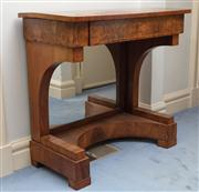 Sale 8815A - Lot 13 - A pair of walnut console tables in the beidermeier taste with satinwood string inlay and mirrored back footwells, Height 87cm W x 81...